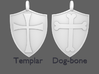 Medieval Shield Pet Tag / Pendant 3d printed Chose the style of the cross for your pendant