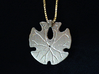 Sand Dollar Pendant 3d printed FUD, painted silver, underside shown with 1mm silver box chain