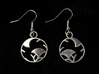 Japanese Crest Earrings 3d printed Printed in silver glossy, earring wires added