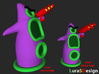 Evil Purple Tentacle LARGE 3d printed comparing the large and the small version