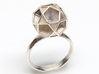 Polyhedron Ring Size 7 3d printed shown in silver
