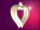 Twin Hearts Pendant in White Strong & Flexible