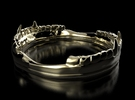 Vampire Teeth Ring in Polished Brass