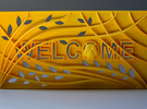 """3D Printed Welcome sign door decoration """"Owl tree"""" in Yellow Strong & Flexible Polished"""