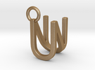 Two way letter pendant - NU UN in Matte Gold Steel