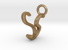 Two way letter pendant - SV VS in Matte Gold Steel