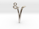 V Initial Charm in Rhodium Plated