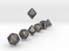 CYBERTECH Futuristic Outie Bevels Dice in Polished Nickel Steel