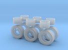1/50th Horse and other trailers wheel & Tire set in Frosted Ultra Detail