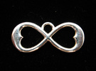 Two Hearts Infinity Symbol (small) in Premium Silver