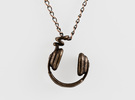 Headphone Necklace in Matte Bronze Steel