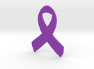 Awareness Ribbon Keychain in Purple Strong & Flexible Polished