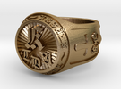 KB Ring in Polished Gold Steel