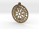 Vegvisir Nordic magical stave pendant in Raw Bronze