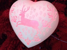 Large Stag Heart by Helen & Colin David in White Strong & Flexible