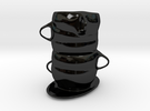 Cup Vase in Gloss Black Porcelain