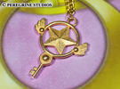 Pendant - Star Key in Polished Gold Steel