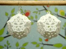 Butterfly Dodecahedron Earrings in White Strong & Flexible