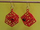 3D Maze Cube Earrings with Rolling Ball in White Strong & Flexible