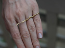Twig Double Ring in Raw Brass