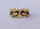 Open Layered Hearts in Ring Size 7 in Raw Brass