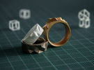 Triangulated Ring - 22mm in White Strong & Flexible Polished