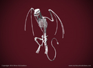 Wyvern Skeleton Perched  in White Strong & Flexible