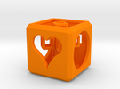 SCULPTURE: Love Cube (30mm) with Upright 3d-Cross in Orange Strong & Flexible Polished