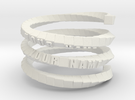 Napkin ring - Block helix in White Strong & Flexible