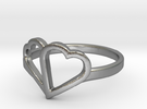 Overlapping Heart Ring in Raw Silver
