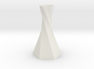 Twisted Hex Vase in White Strong & Flexible