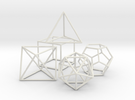 Platonics Solids colored - Primary Forms in White Strong & Flexible