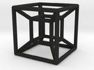 "1"" Wireframe Hypercube in Black Acrylic"