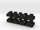 "7/8"" scale pipe fittings: 3"" pipe in Black Acrylic"