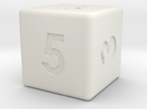 6-sided die (d6) in White Strong & Flexible