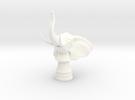 Elephant Rook (Round Base) in White Strong & Flexible Polished