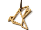 Pendant Origami Dove in Matte Bronze Steel