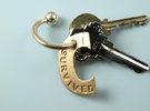 I Survived The Big C Pin / Pendant / Key Fob, Engr in Raw Bronze