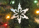 Snowflake Gangnam Style Ornament in White Strong & Flexible