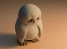 Sad Owl in Full Color Sandstone