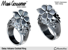 Daisy Volcano Cocktail Ring in Polished Silver
