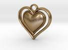 Framed Heart Pendant in Polished Gold Steel