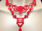 Eloquent Vines Necklace - Modern Elegance Series in Red Strong & Flexible Polished
