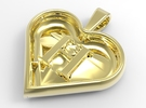 Secret heart pendant [customizable] in Polished Brass