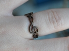 Treble Clef Ring 3 in Polished Bronze Steel