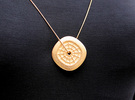 Lucky Coin Pendant #2272 in Polished Gold Steel