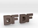 Monogram Cufflinks DF in Matte Bronze Steel