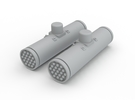2 Ghost Hawk Rocket Pod Assembly in White Strong & Flexible Polished