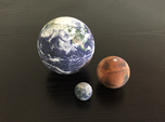 Earth, Moon & Mars to scale