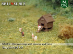 Chicken coop with rooster and hens (N 1:160)